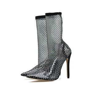 Rhinestone Fishnet High Heel