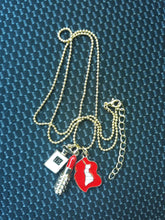 Load image into Gallery viewer, Gold Plated White & Red Perfume Bottles Lip Necklace - TopNotch{C}
