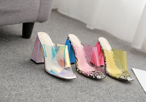 Yellow Candy Transparent Slingback Heels