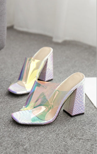 Silver  Candy Transparent Slingback Heels