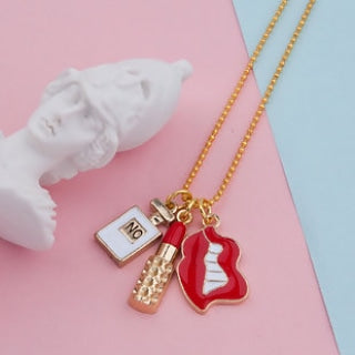 Gold Plated White & Red Perfume Bottles Lip Necklace - TopNotch{C}