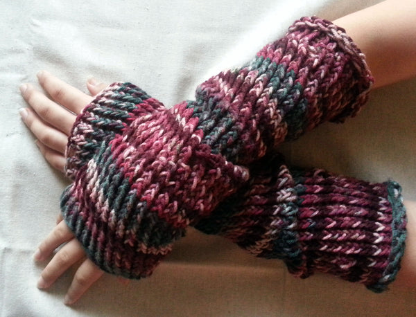 Hand Knit Arm Warmers/ Fingerless Long Gloves