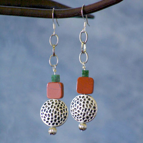 Aventurine and Silver Plated Metal Dangle Earrings
