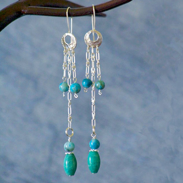 Turquoise Dyed Jasper and Amazonite Sterling Silver Dangle Earrings