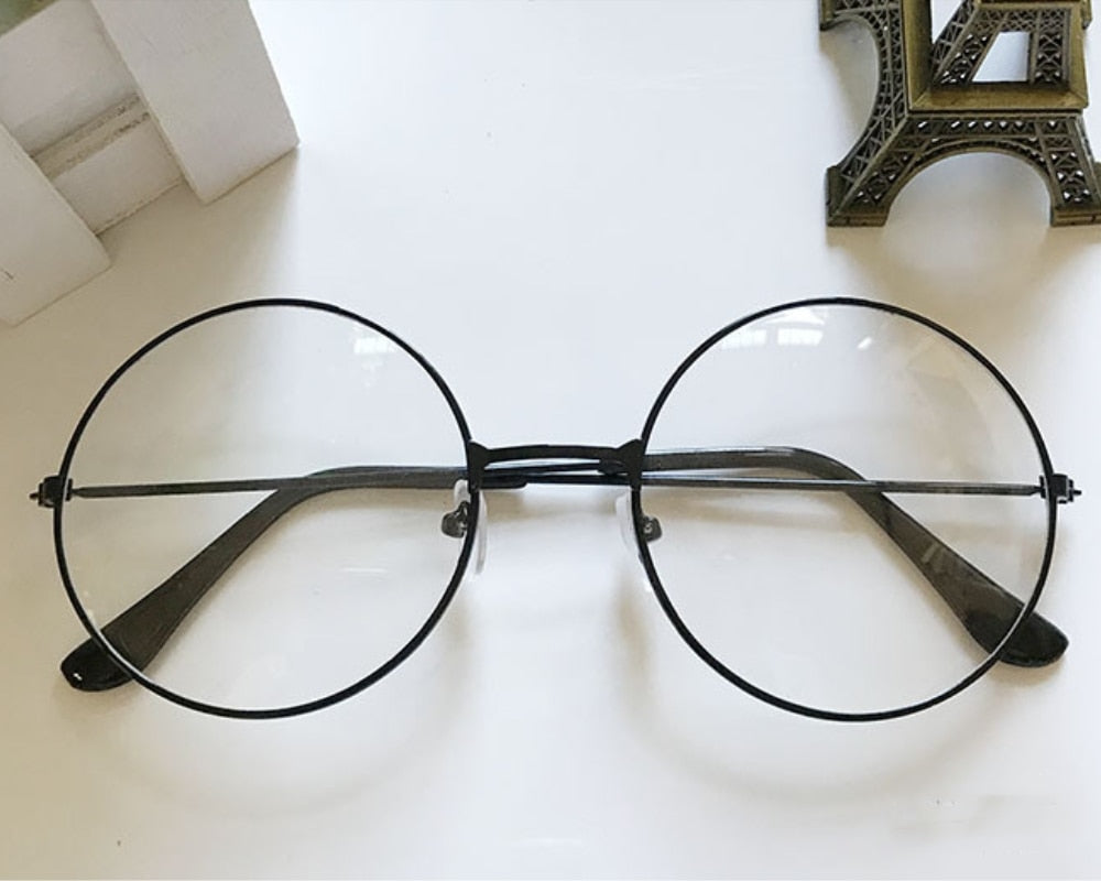 85c9531b90 Retro Large Round Glasses Transparent Metal eyeglass frame – mensdrawer