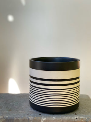 Striped Ceramic Pot, 6in.
