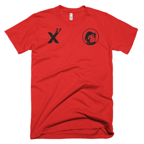 x27 logo and monkey red shirt