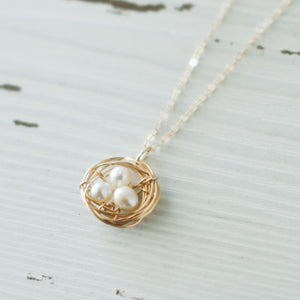 Birds Nest Necklace with Freshwater Pearls