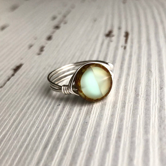 Mint Julep Glass And Silver Wire Wrap Ring