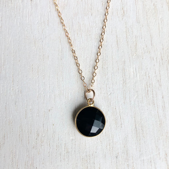 Black Onyx and Gold Filled Charm Necklace