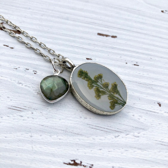 Resin and Pressed Flowers Silver Oval Pendant on Long Chain