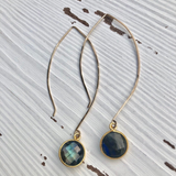 Labradorite Gemstone Long Dangle Earrings