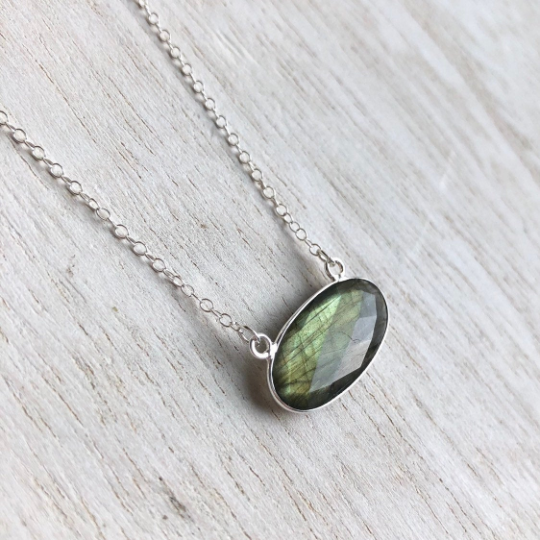 Labradorite Oval Bar Necklace in Sterling Silver