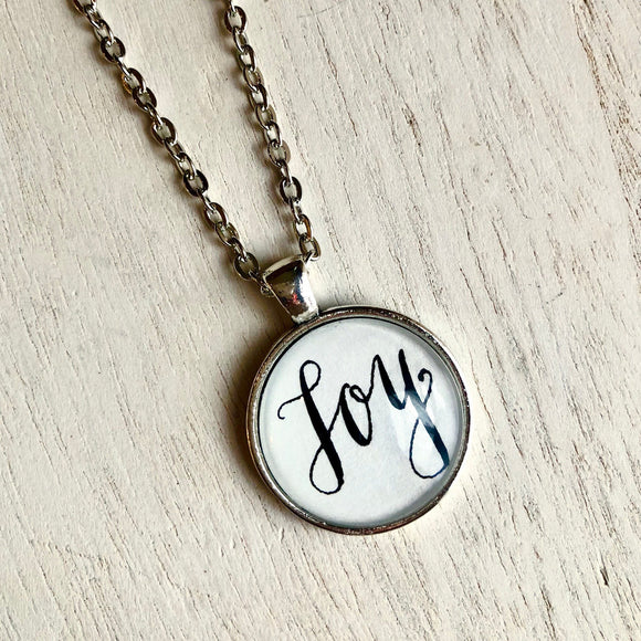 Joy pendant necklace, handlettered calligraphy pendant