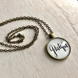 "Grateful hand lettered pendant necklace on vintage brass 24"" chain"