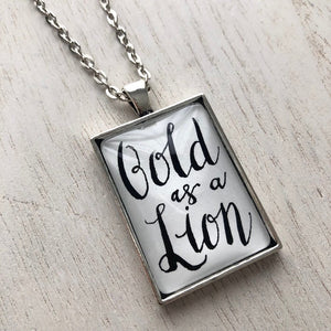 Bold as a Lion pendant handlettered calligraphy inspirational necklace