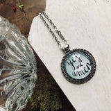 Yes and amen inspirational quote hand lettered pendant