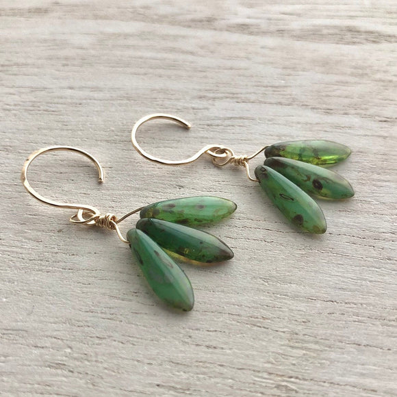 Green Czech Glass Dagger Triplet Boho Earrings in Gold