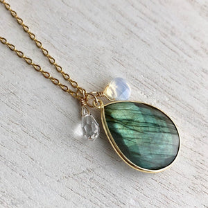 Labradorite and Gold long pendant necklace, swarovski crystal and opalite charms