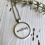 Warrior pendant calligraphy lettered necklace