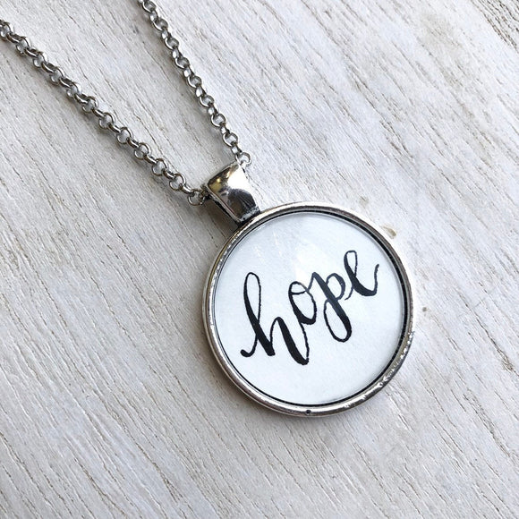 Hope hand lettered calligraphy pendant necklace