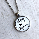 Dog Mom paw print hand lettered calligraphy pendant necklace