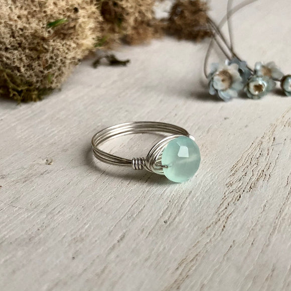 Blue Chalcedony and Silver Wire Wrap Ring