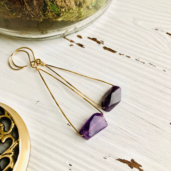 Amethyst Chunk Earrings in Gold