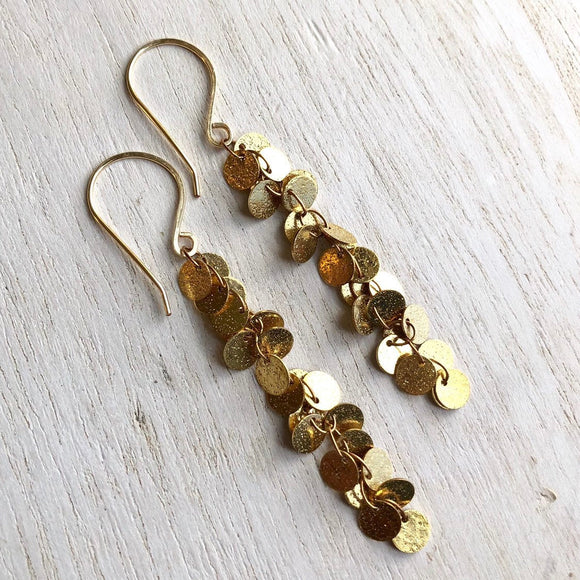 Dancing coins gold sparkly dangle earrings