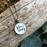 Plant Lady Hand Lettered Calligraphy Word Quote Necklace in Silver