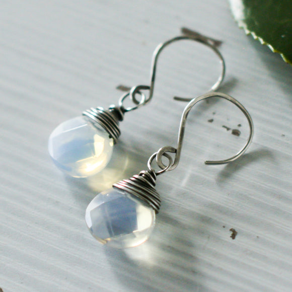 Opalite and Sterling Silver Wire Wrap Gemstone Drop Earrings