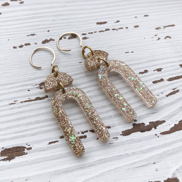 Gold Glitter Long Arch Earrings
