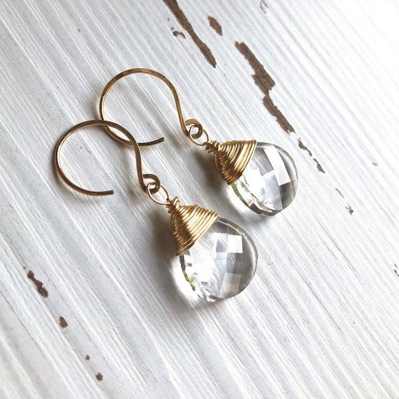 Clear Swarovski Crystal and Gold Teardrop Earrings