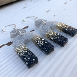 Black, Silver and Gold Glitter Arch Earrings