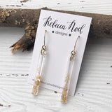 Gold Sparkly Resin Stick Earrings