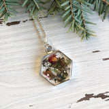Tea Leaves in Resin Hexagon Necklace