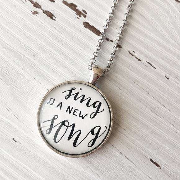 Sing a new song- hand lettered calligraphy necklace