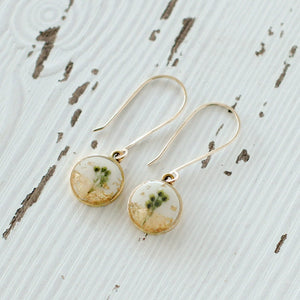 Flowers in Gold Circle Earrings