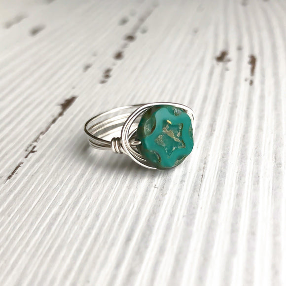 Turquoise Czech Glass and Silver Wire Wrap Ring