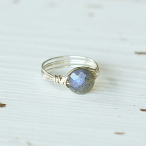 Labradorite and Silver Wire Wrap Ring