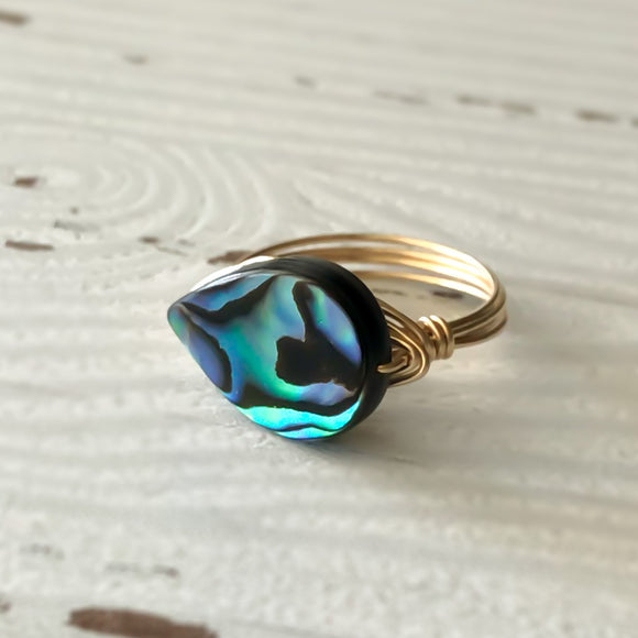 Abalone Shell and Gold Ring
