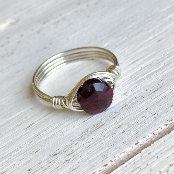 Garnet and Silver Wire Wrap Ring