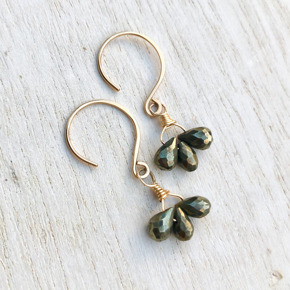 Small pyrite teardrop dangles in gold, triplet earrings