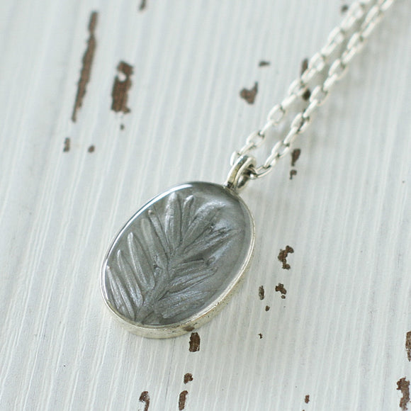Silver Leaf in Resin Oval Pendant on Long Chain