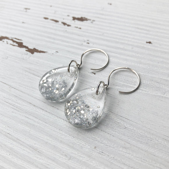 Silver Glitter Teardrop Resin Earrings
