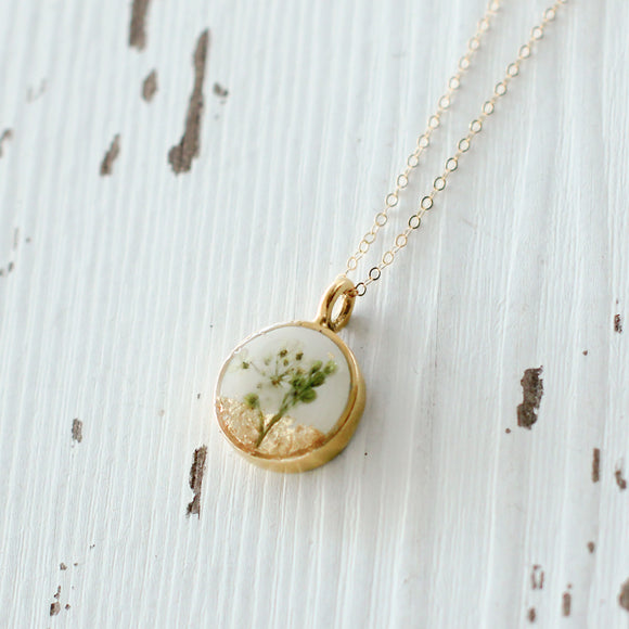 Small Gold Circle with Flowers Necklace