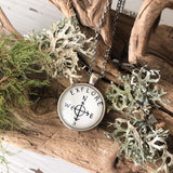 """Explore"" with Compass Handlettered Pendant Necklace"