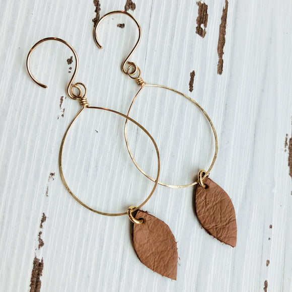 Brown Leather Drop Earrings in Gold
