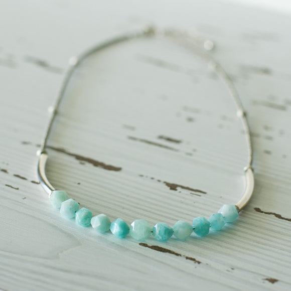 Amazonite and Silver Gemstone and Seed Bead Necklace