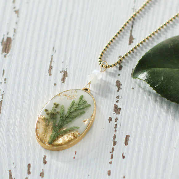 Large Gold Oval Necklace with Greenery